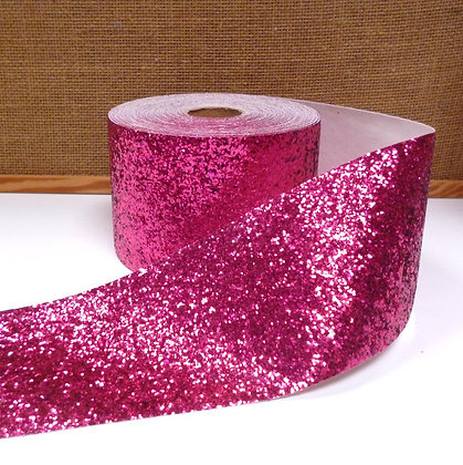 Chunky Glitter Ribbon :: 10cm Wide (by the m) :: Fuchsia
