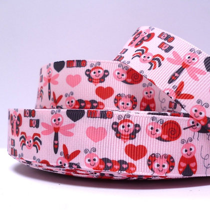 Cute Grosgrain Ribbon :: Bugs on Pink