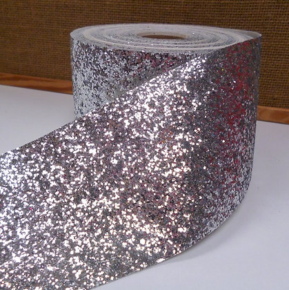 Chunky Glitter Ribbon :: 10cm Wide (by the m) :: Silver