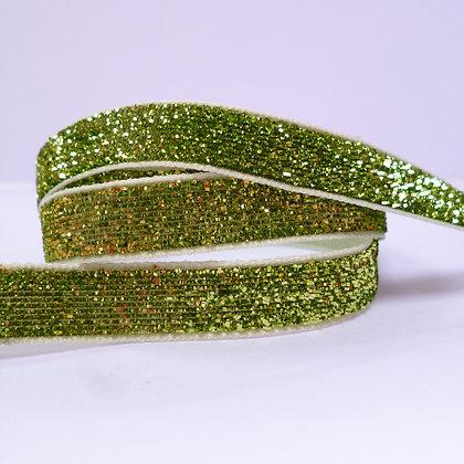 10mm Glitter Velvet Ribbon :: Spinach