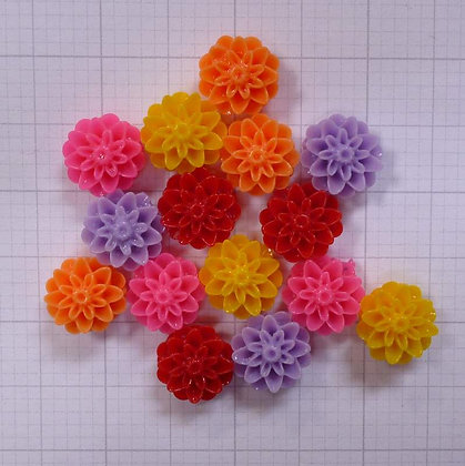 Shaped Flower Beads x15 Yellows & Reds