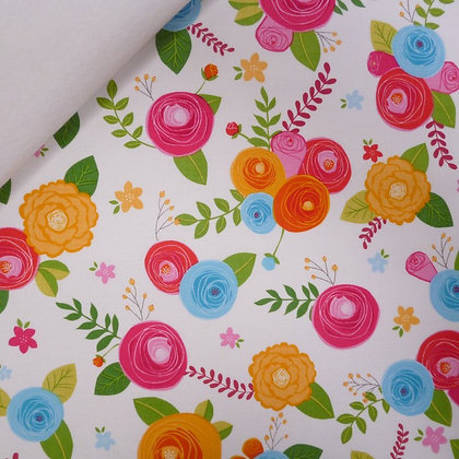 Fabric Felt :: Simply Happy :: Blooms on White
