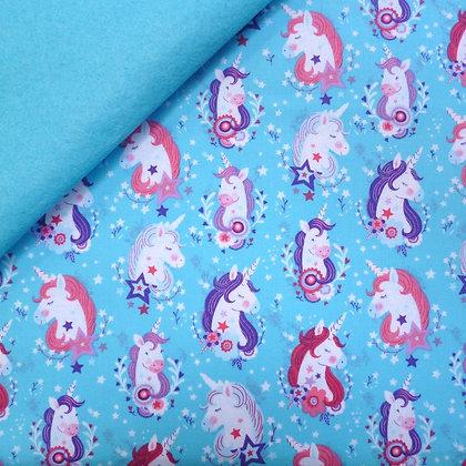 Fabric Felt :: Unicorn Kisses :: Turquoise Unicorns on Turquoise