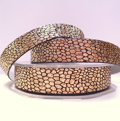 15mm Snake Skin effect ribbon :: Rose Gold