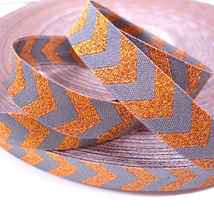 Embroidered Ribbon :: Bronze Chevron