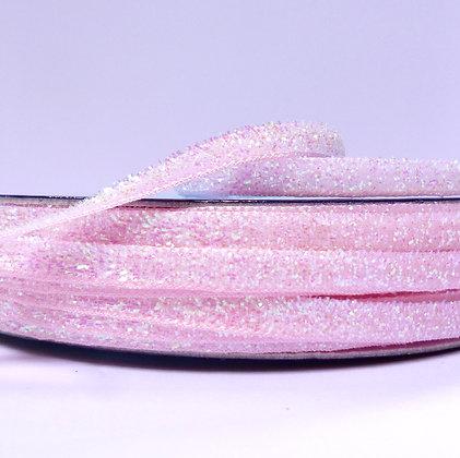 5mm Glitter Velvet Ribbon :: Baby Pink