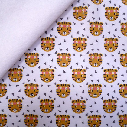 Artisan Fabric Felt :: Tigers with floral headbands on White