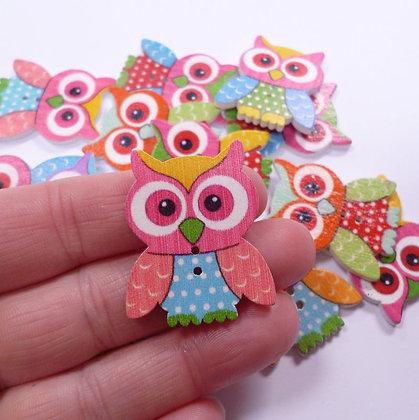 Wooden Button Pack :: Owls