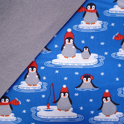 Fabric Felt :: Polar Pals Deep Blue Penguins on Grey LAST FEW