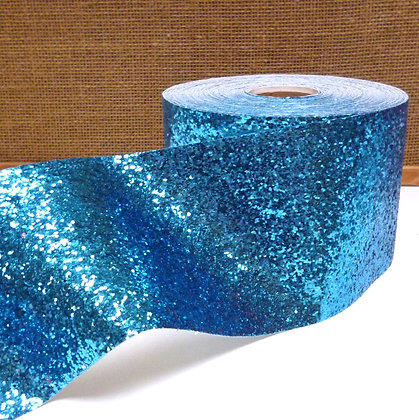 Chunky Glitter Ribbon :: 10cm Wide (by the m) :: Blue