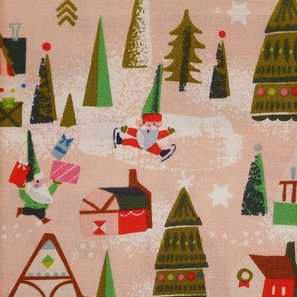 Fabric :: Way Up North :: Elf Houses :: Peach