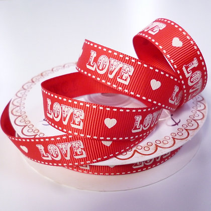 Love Ribbon :: Natural Love Text on Red