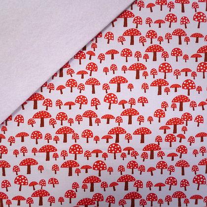 Fabric Felt :: Fly Agarric Mushrooms on White