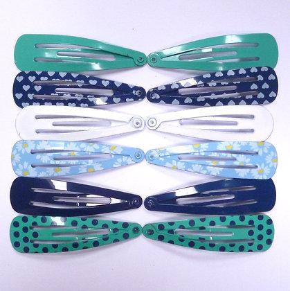 Colourful Hair Clips (x12) :: Blues & Greens