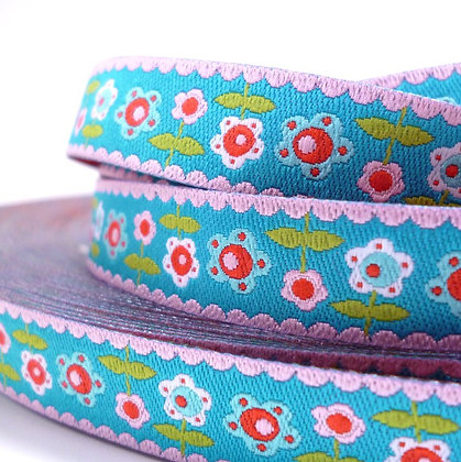 Embroidered Ribbon :: Flowers on Aqua