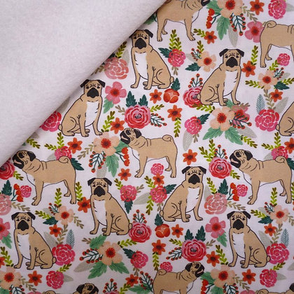 Artisan Fabric Felt :: Pugs on white