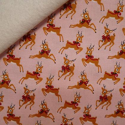 Fabric Felt :: Merry/Bright :: Pink Reindeer on Natural