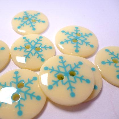 Turquoise Snowflake on Cream Button