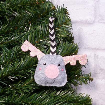 Pink & Grey Reindeer (Icy Pastel) Christmas Decoration Kit