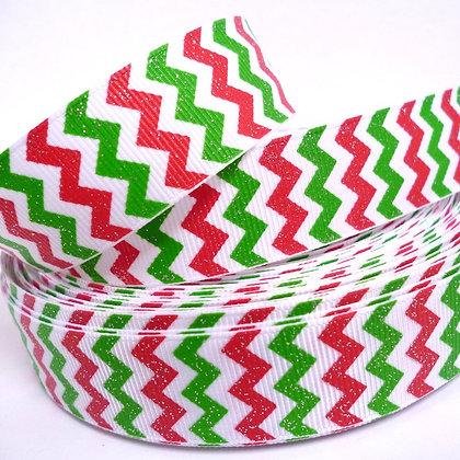 Glittered Grosgrain Ribbon :: Christmas Chevron