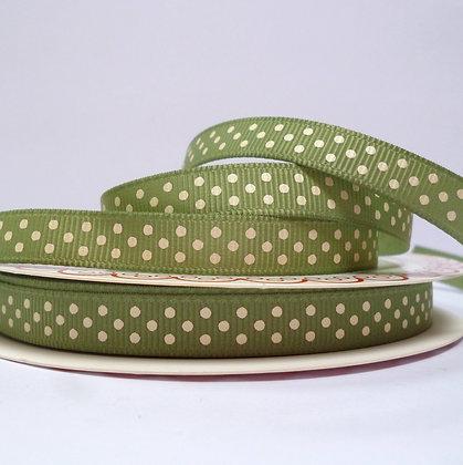 Polka Dot Grosgrain :: Moss & Cream