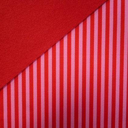 Fabric Felt :: Clown Stripe Poppy on Red