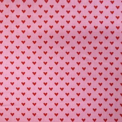 Fabric :: Hello Sweetheart :: Mini Red Hearts on Pink