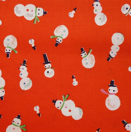 Fabric :: Way Up North :: Snowman :: Red