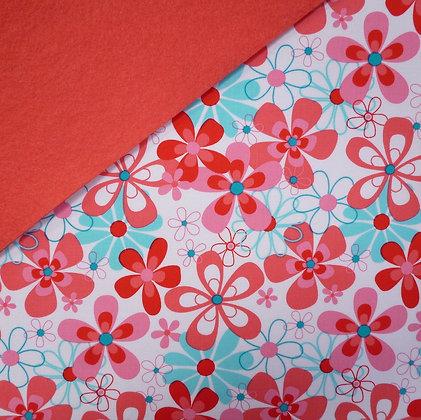 Fabric Felt :: Aqua & Pink Flowers on Coral