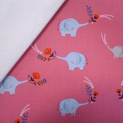 Fabric Felt :: Meadow Safari :: Coral Elephants on Natural