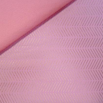 Fabric Felt :: Pastel Metallic Pink Diagonals on Baby Pink