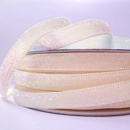 10mm Glitter Velvet Ribbon :: Pastel Cream