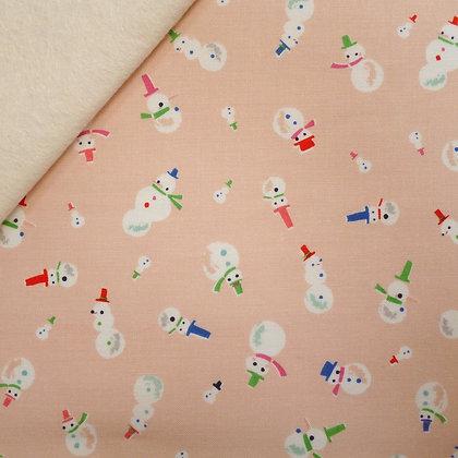 Fabric Felt :: Way Up North :: Snowmen Peach on Natural