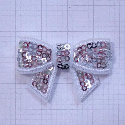 Sparkle Bow :: Medium :: Silver/White