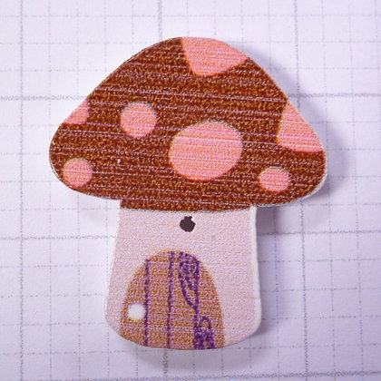 Wooden Mushroom Button :: Brown & Coral