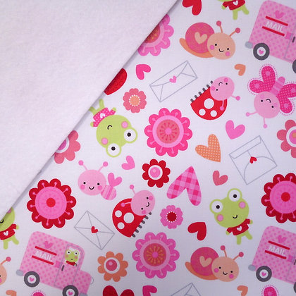 Fabric Felt :: Lovebug Characters on White