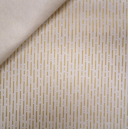 Fabric Felt :: Party :: Gold Dashed Lines on Natural LAST FEW