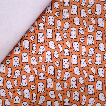 Artisan Fabric Felt :: Ghosties (orange) on white