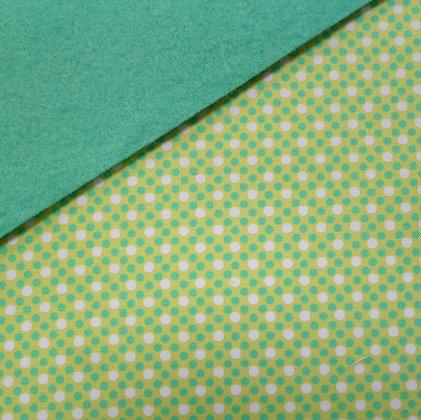 Fabric Felt :: Lime Dim Dots on Sea Green