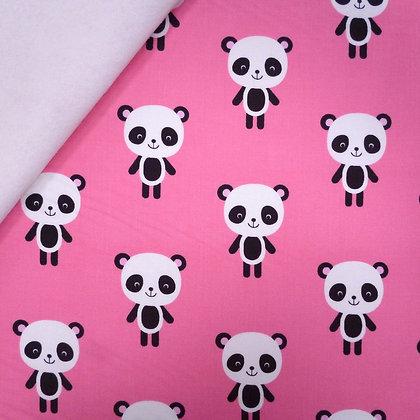 Fabric Felt :: Zoologie :: Bright Pink Large Pandas on White LAST FEW