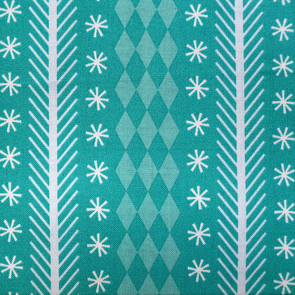 Fabric :: Nutcracker :: Teal Snowflake Stripe