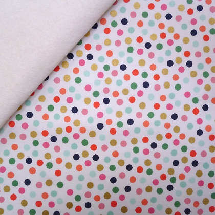 Fabric Felt :: On Trend :: Dots (on white)  on Natural