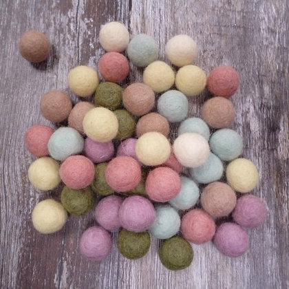 2cm Felt Ball Packs :: Muted Pastels (48x 2cm balls)