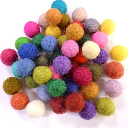 2cm Felt Ball Packs :: Multi Coloured (48x 2cm balls)