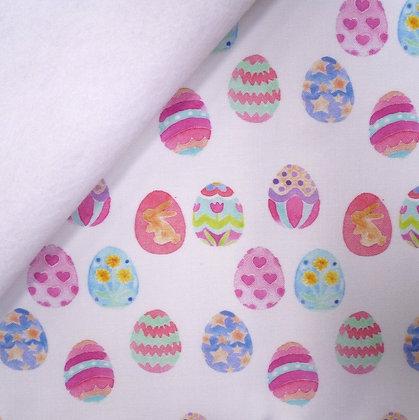 Artisan Fabric Felt :: Pastel Painted Easter Eggs on White