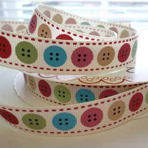 Bertie Bows Ribbon :: Buttons on Cream