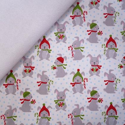 Fabric Felt :: Frosty Friends :: Candy Cane Bunnies on White LAST FEW