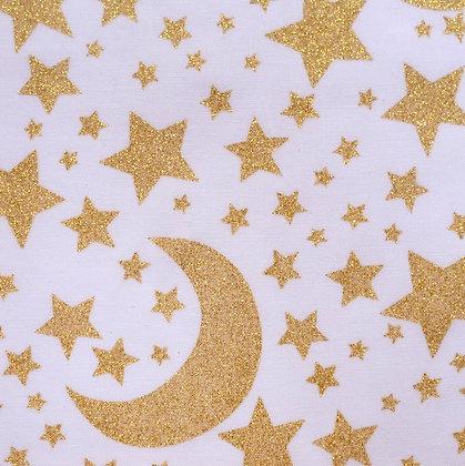 Fabric :: Metallic :: Glittery Moon & Stars