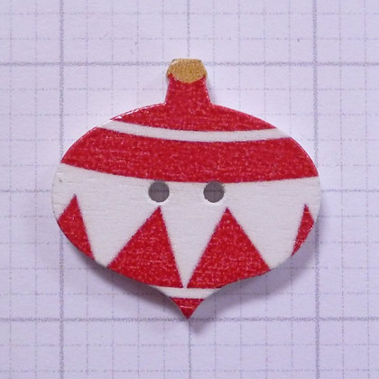 Wooden Bauble Button :: Red Diamond