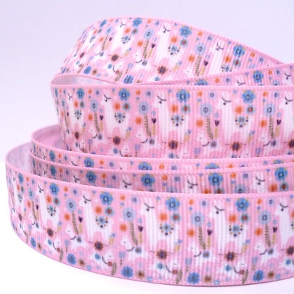 Cute Grosgrain Ribbon :: Llama Family on Pink